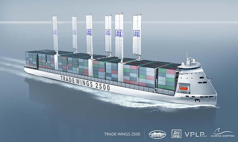 Đăng kiểm Pháp phê duyệt nguyên tắc tàu container được hỗ trợ đẩy bằng buồm